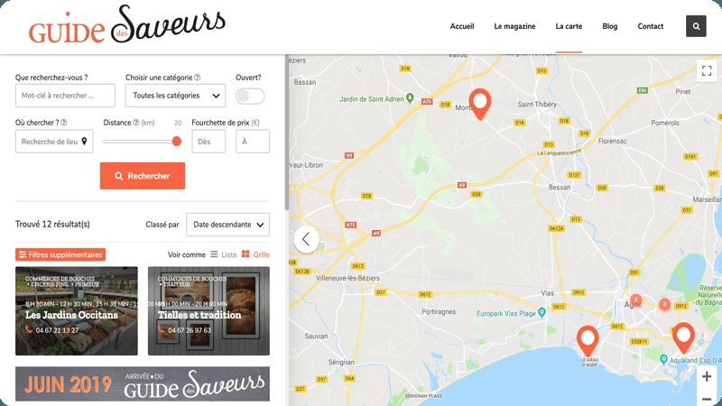 Carte Guide des Saveurs - trouver votre boucherie, restaurant, épicerie